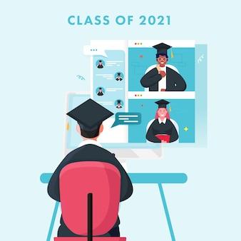 Online virtuele afstudeerconferentieklasse van 2021 om coronavirus te voorkomen.