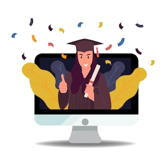 Online virtuele afstudeervideo webconferentie afstudeerceremonie voor middelbare scholieren. vector