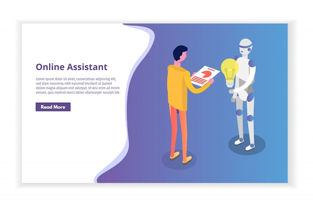 Online virtuele assistent, chat bot isometrisch concept. illustratie.