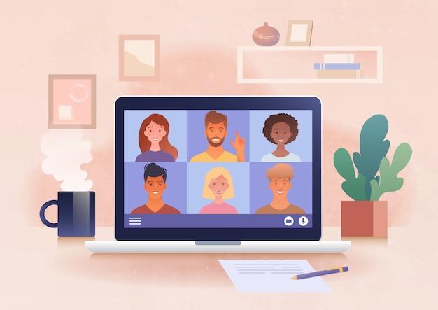 Online virtuele groepsbijeenkomst die wordt gehouden via een videoconferentie vanuit het thuiskantoor met behulp van een laptopcomputer