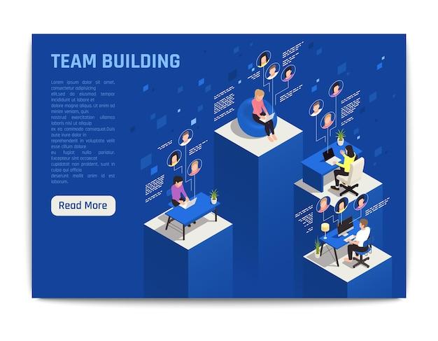 Online virtuele teambuilding isometrische banner