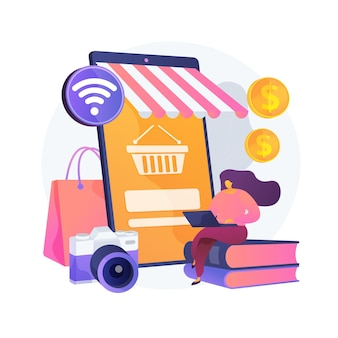 Online vlooienmarkt abstracte concept illustratie