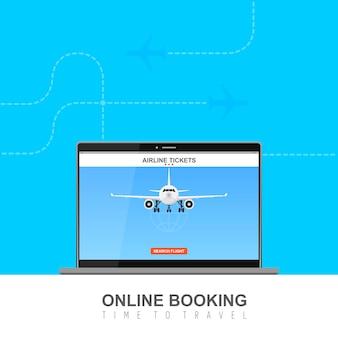 Online vlucht boeken op scherm illustratie