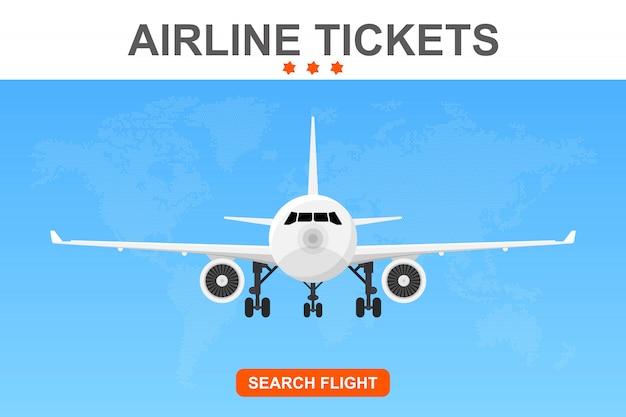 Online vlucht boeking banner illustratie