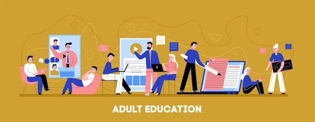 Online volwasseneneducatie platte horizontale achtergrondbanner met individuele audio-video trainingsniveau tempo coaching