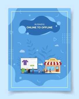 Online voor offline mensen rond computermonitordoek in displaywinkel voor sjabloon