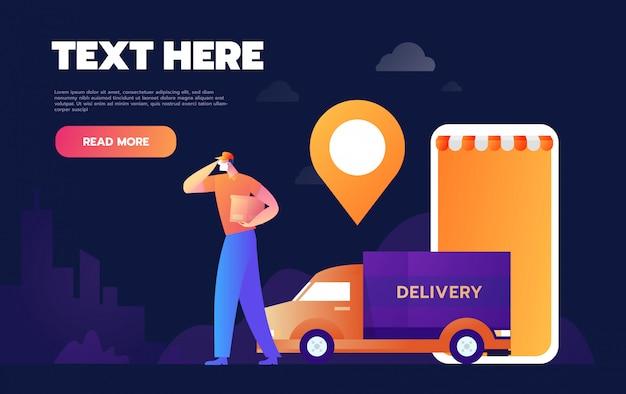 Online vracht volgen leveringstoepassing tiny people character concept vector illustration, geschikt voor behang, banner, achtergrond, kaart, boekillustratie, weblandingspagina.