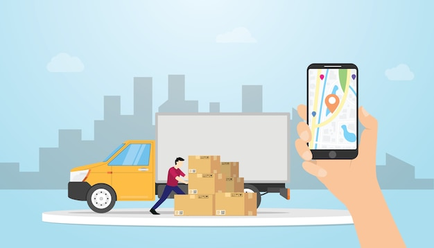 Online vrachtafleveringsvolgsysteem met vrachtwagen en gps positielocaties met smartphone van de handgreep - vector