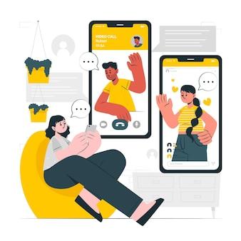Online vrienden concept illustratie