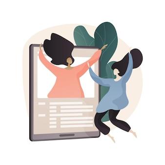 Online vrienden partij abstracte concept illustratie