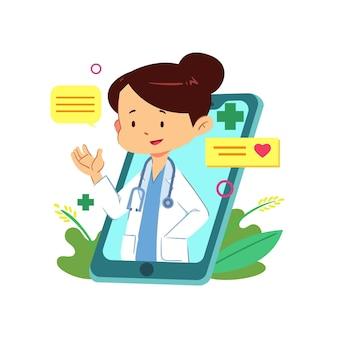 Online vrouwelijke arts klaar om de medische problemen op te lossen