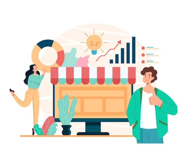 Online web internet bedrijfsontwikkeling handel winkelen sociale media winkelconcept, cartoon vlakke afbeelding