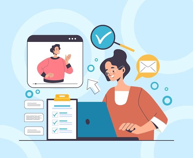 Online web internet sollicitatiegesprek werven hoofd jacht human resources concept.