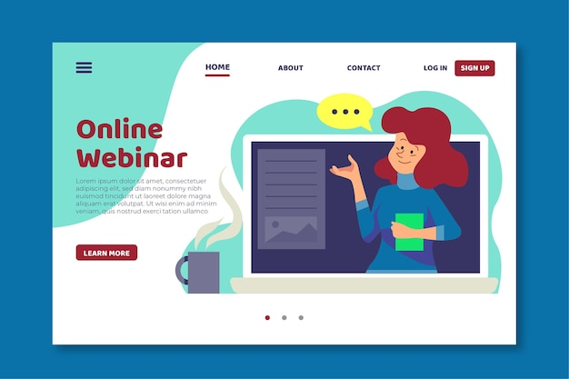 Online webinar-bestemmingspagina-sjabloon