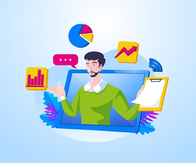Online webinars met zakelijke presentatiethema's