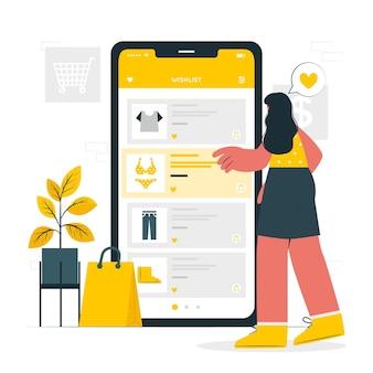 Online wensenlijst concept illustratie
