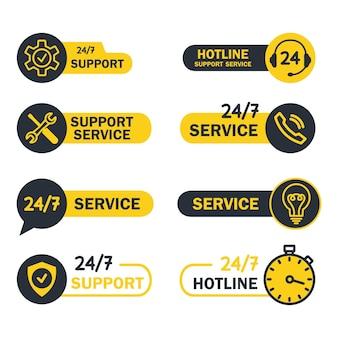 Online wereldwijde technische ondersteuning 24 op 7 knoppen help en ondersteuning hotline-knoppen