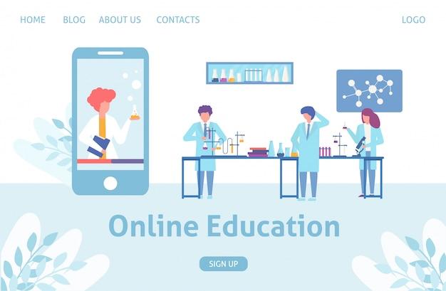 Online wetenschappelijk onderwijs concept training en leren in mobiele app, smartphone en kleine mensen wetenschappers met chemische formule, microscopen illustratie.