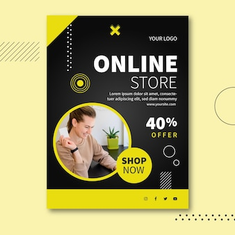 Online winkel a5 flyer-sjabloon