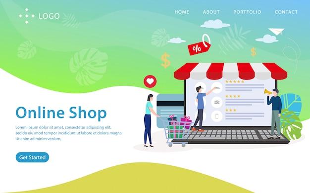 Online winkel bestemmingspagina, websitemalplaatje, gemakkelijk te bewerken en aan te passen, vectorillustratie