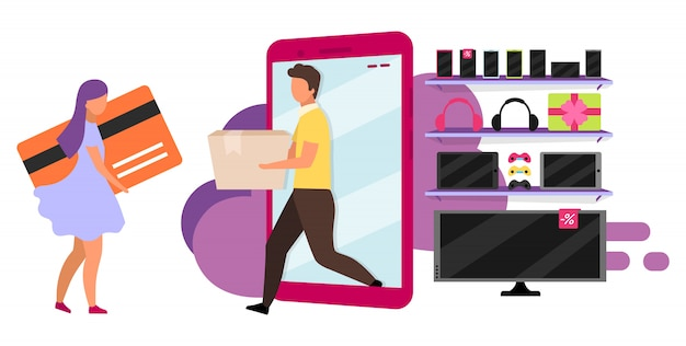 Online winkel bezorgservice illustratie. elektronica winkel aankoopconcept. meisje het kopen toestel met creditcard. shopper en verkoper stripfiguur op witte achtergrond