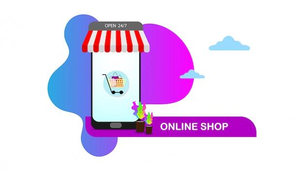 Online winkel concept illustratie in moderne platte ontwerpstijl