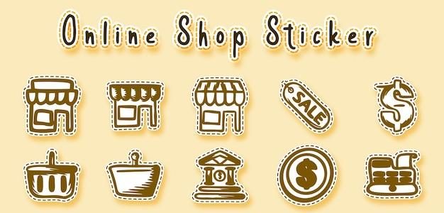 Online winkel doodle kunst sticker