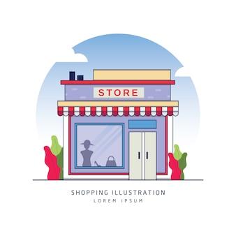 Online winkel gebouw vector
