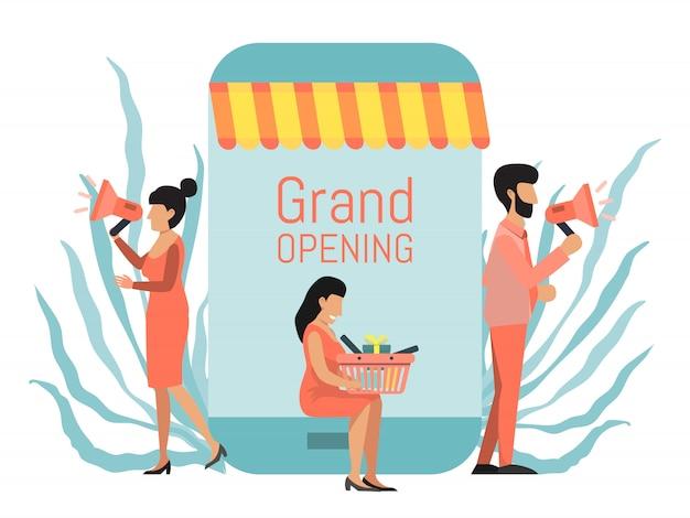Online winkel grand opening promotie zakenmensen met megafoons
