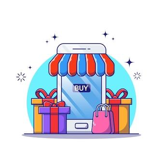 Online winkel illustratie met smartphone, cadeau en boodschappentas.