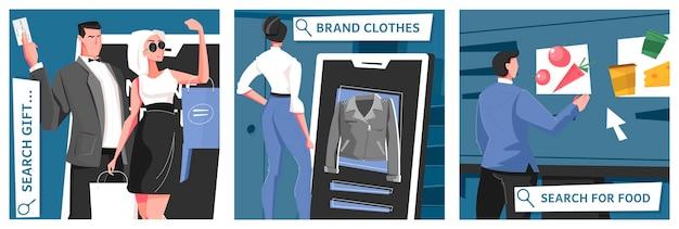 Online winkel illustratie set