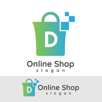 Online winkel initiaal letter d logo ontwerp