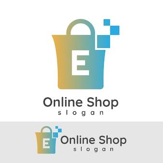 Online winkel initiaal letter e logo ontwerp