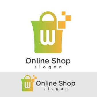 Online winkel initiaal letter w logo ontwerp