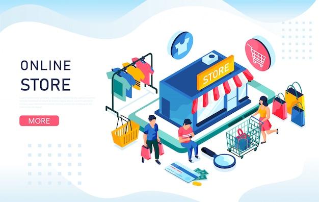 Online winkel isometrisch concept. kopers kopen dingen in de online winkel. u kunt voor weblandingspagina, mobiele app en bannermalplaatje gebruiken.