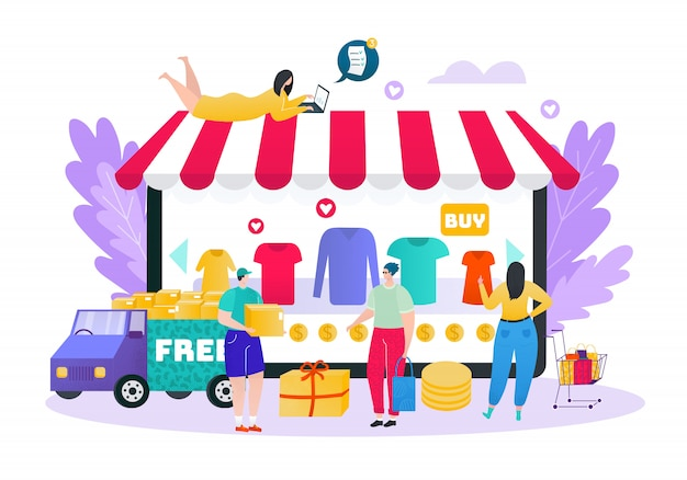 Online winkel, kleding internetwinkel en snelle levering concept, mensen klanten shoppers illustratie. online winkeltechnologie op internet. winkelen e-commerce technologie, marketing.