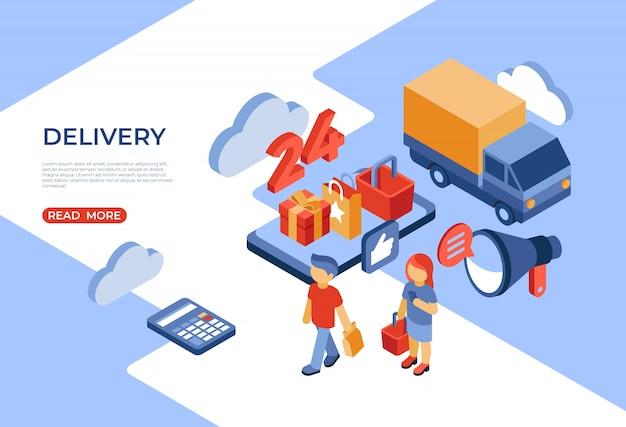Online winkel levering isometrische bestemmingspagina