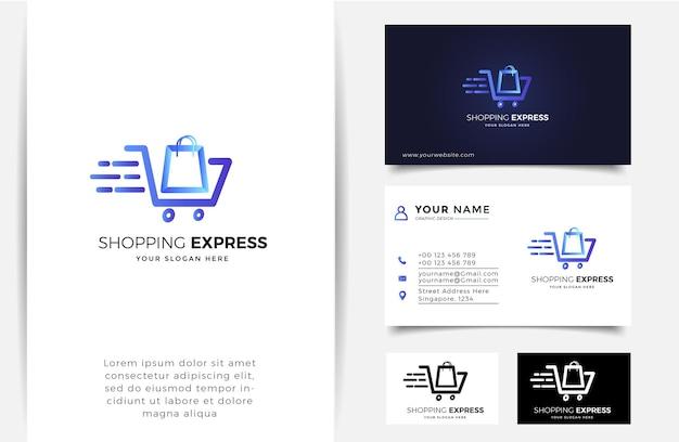 Online winkel logo met verloop lijn kunst pijl stijl en visitekaartje ontwerpsjabloon