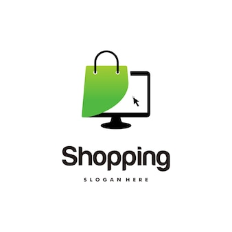 Online winkel logo ontwerpen sjabloon, computer en boodschappentas logo vectorillustratie