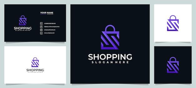 Online winkel logo-ontwerpinspiratie met visitekaartje Premium Vector