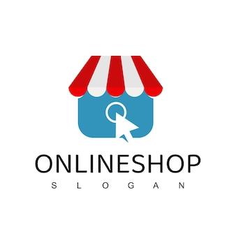 Online winkel logo ontwerpsjabloon. boodschappentas vector design. digitale markt symbool