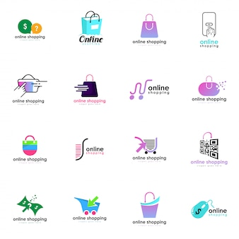 Online winkel logo set