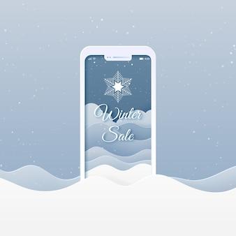 Online winkel met mobiele applicatie. winter verkoop, prettige kerstdagen en gelukkig nieuwjaar banner achtergrond.