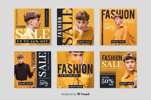Online winkel met promotionele verzameling sjabloon