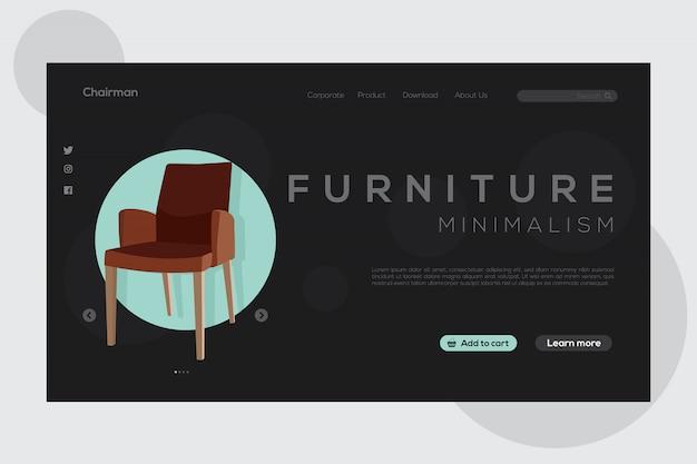 Online winkel meubilair van bestemmingspagina donkere modus