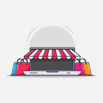 Online winkel op het ontwerp van de laptopillustratie