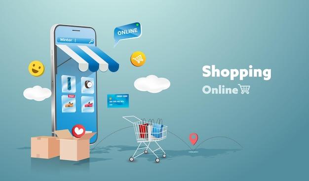 Online winkel op het ontwerp van website en mobiele telefoon. slimme bedrijfsmarketingconcept. horizontale weergave. illustratie.