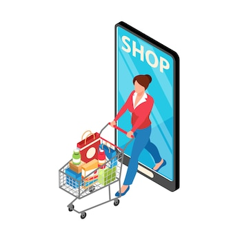 Online winkel supermarkt isometrische illustratie met karakter dragende trolley met aankopen