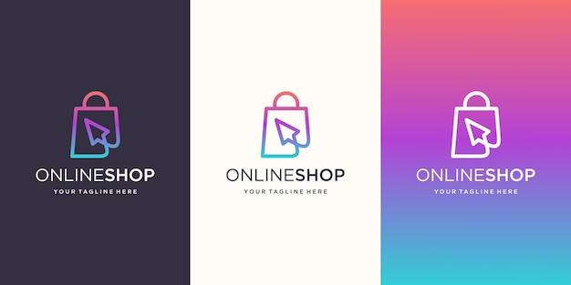 Online winkel, tas gecombineerd met cursor logo ontwerpen sjabloon