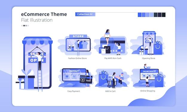 Online winkel thema in een vlakke afbeelding